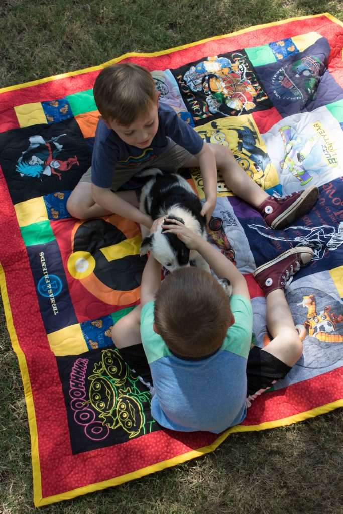 boys with puppy on tshirt quilt
